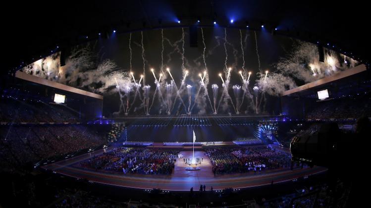 Fireworks light up the sky during the opening ceremony for the 2014 Commonwealth Games at Celtic Park in Glasgow, Scotland