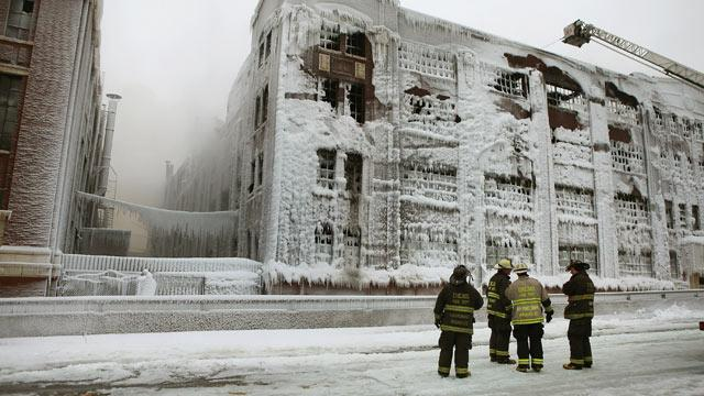 Ice From Fire Hoses Threatens Building