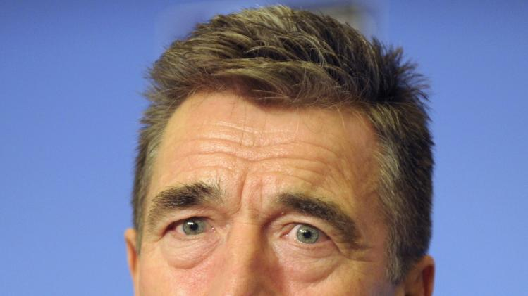 NATO Secretary-General Anders Fogh Rasmussen attends a news conference at the Residence Palace in Brussels