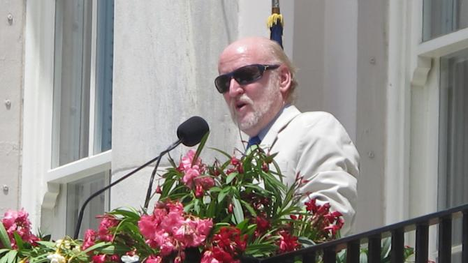 Rocco Landesman, the chairman of the National Endowment for the Arts, addresses the crowd during the  opening ceremonies of the Spoleto Festival USA  in Charleston, S.C., on Friday, May 25, 2012. The internationally known arts festival was opening its 36th season. (AP Photo/Bruce Smith)