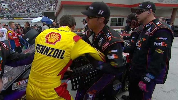 Tempers flare between Logano and Hamlin