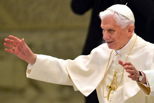 <p>Pope Benedict XVI waves as he arrives on September 19, 2012 for his weekly general audience in the Paul VI hall at the Vatican. The pope on Wednesday called for Christians and Muslims to unite against violence, following a trip to Lebanon last week in which he condemned fundamentalism in any religion.</p>