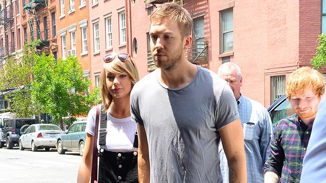 Taylor Swift Has Lunch With Her Boys Calvin Harris & Ed Sheeran in Sexy Overalls Look