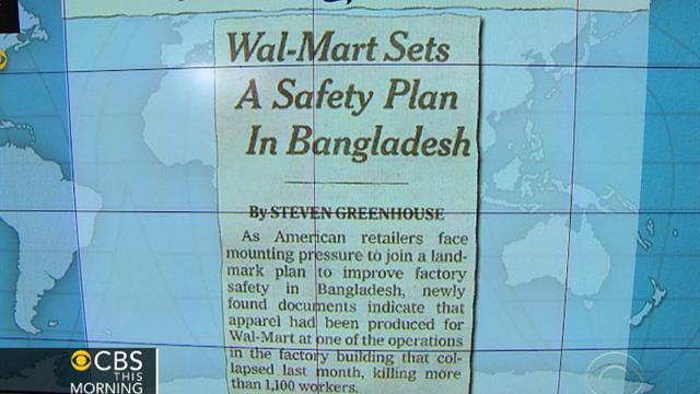 Headlines: Wal-Mart clothes made in collapsed factory