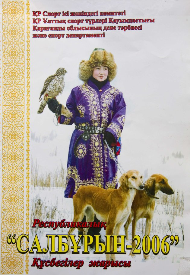 A flyer for a hunting festival showing Makpal Abrazakova, 25, pictured at her home in Aksu-Ayuly