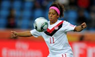 Canada's midfielder Desiree Scott plays the ball during the group A match of the FIFA women's football World Cup Canada vs France on June 30, 2011 in Bochum, western Germany. AFP PHOTO / PATRIK STOLLARZ (Photo credit should read PATRIK STOLLARZ/AFP/Getty Images)
