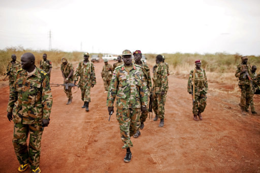 Sudan People's Liberation Army (SPLA) forces at the frontline in Tachuien, Unity State, South Sudan on Friday, May 11, 2012. In late April,&lt;br /&gt;&lt;br /&gt;&lt;br /&gt;&lt;br /&gt;&lt;br /&gt;&lt;br /&gt;&lt;br /&gt;&lt;br /&gt;&lt;br /&gt;<br />  tensions between Sudan and South Sudan erupted into armed conflict along their poorly defined border. Thousands of SPLA forces have been deployed to Unity State where the two armies are at a tense stalemate around the state's expansive oil fields. Fighting between the armies lulled in early May after the U.N. Security Council ordered the countries to resume negotiations. South Sudan seceded from the Republic of Sudan in July 2011 following decades of civil war. (AP Photo/Pete Muller)