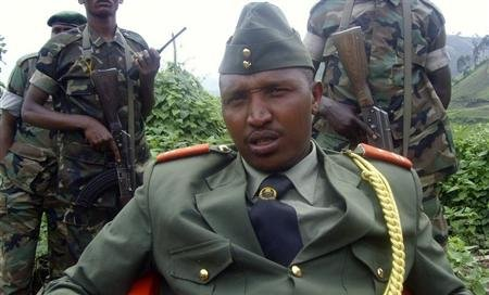 General Bosco Ntaganda addresses a news conference in Kabati, a village located in Congo's eastern North Kivu province, January 8, 2009. REUTERS/Abdul Ndemere