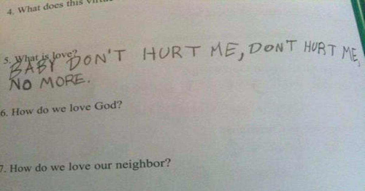 Most Hilarious Test Answers From Kids
