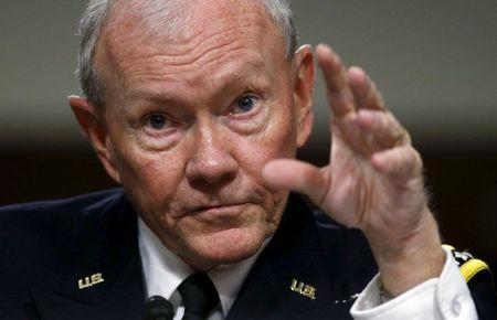 Chairman of the Joint Chiefs of Staff General Dempsey testifies during a Senate Armed Services Committee hearing on Capitol Hill in Washington