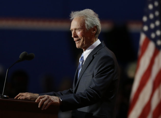 Actor Clint Eastwood speaks to delegates during the Republican National Convention in Tampa, Fla., on Thursday, Aug. 30, 2012. (AP Photo/Lynne Sladky)