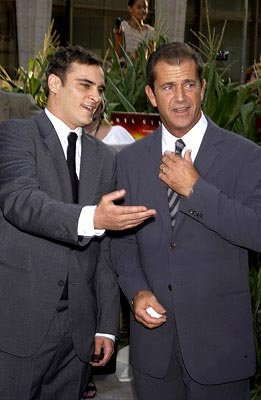 Joaquin Phoenix and Mel Gibson at the New York premiere of Touchstone's Signs