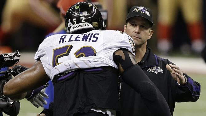 Baltimore Ravens linebacker Ray Lewis, left, prepares to embrace Baltimore Ravens head coach John Harbaugh before the NFL Super Bowl XLVII football game against the San Francisco 49ers, Sunday, Feb. 3, 2013, in New Orleans. (AP Photo/Elise Amendola)