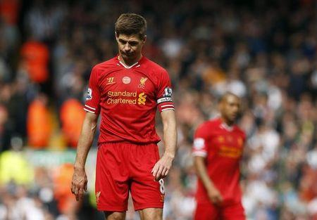 Liverpool's Steven Gerrard reacts following their final soccer match of the Premier League season against Newcastle United which they won 2-1, at Anfield in Liverpool