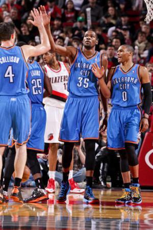 Durant has 33 and Thunder beat Blazers 87-83