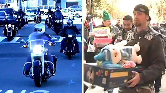 Video: Bikers bring holiday happiness to hospital