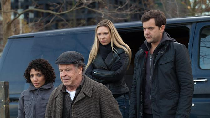 "This undated image released by Fox shows, from left, Jasika Nicole, John Noble, Anna Torv and Joshua Jackson in a scene from the two-hour series finale of ""Fringe,"" airing Friday, Jan. 18, 2013 at 8 p.m. EST on Fox. (AP Photo/Fox, Liane Hentscher)"
