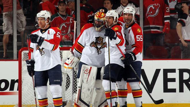 (L-R) Brian Campbell #51, Goalie Scott Clemmensen #30, Stephen Weiss #9 And Ed Jovanovski #55 Of The Florida Panthers Getty Images