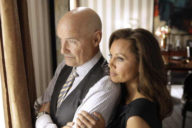 This image released ABC shows Vanessa Williams as Olivia Doran, right, and Terry O&#39;Quinn as Gavin Doran in a scene from the ABC series &quot;666 Park Avenue,&quot; premiering Sunday, Sept. 30 at 10 p.m. EST on ABC. (AP Photo/ABC, Patrick Harbron)
