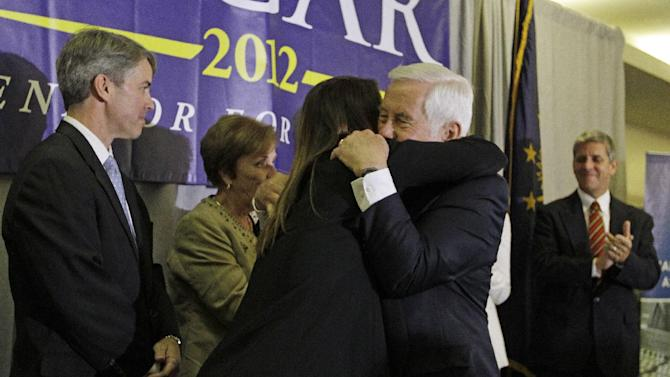 Sen. Richard Lugar hugs Kelly Lugar following a concession speech Tuesday, May 8, 2012, in Indianapolis. Lugar lost his Republican Senate primary on Tuesday to state Treasurer Richard Mourdock. (AP Photo/Darron Cummings)