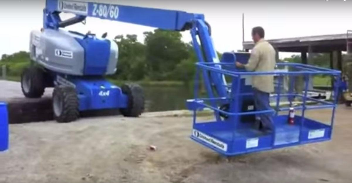 Reckless Worker Turns Boom Lift Into Catapult!