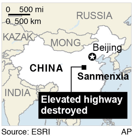 Map shows the city of Sanmenxia in Henan province where a truck carrying fireworks ahead of Chinese New Year celebrations exploded and destroyed part of an elevated highway;