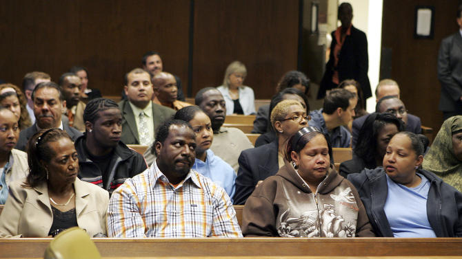 FILE - In this Tuesday Aug. 21, 2007 file photograph, from left, Dashon Harvey's grandmother Dorothy Harvey, his father, James Harvey, and Shalga Hightower, mother of Iofemi Hightower, listen to the court proceedings in Newark, N.J., of one of the men accused of the execution-style shootings that left Dashon Harvey, Iofemi Hightower and another college student dead and one wounded in a Newark schoolyard. The trial of Gerardo Gomez,the last of six defendants in the triple murder case, is scheduled to begin Thursday, Oct. 4, 2012. (AP Photo/Mel Evans, File)