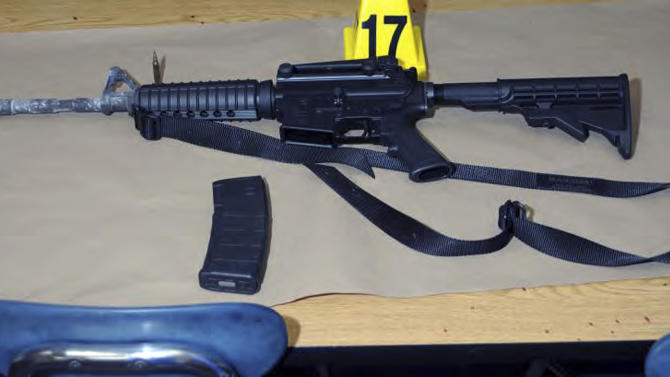 "This image contained in the ""Appendix to Report on the Shootings at Sandy Hook Elementary School and 36 Yogananda St., Newtown, Connecticut On December 14, 2012"" and released Monday, Nov. 25, 2013, by the Danbury, Conn., State's Attorney shows a weapon found at Sandy Hook Elementary School in Newtown, Conn. Adam Lanza opened fire inside the school killing 20 first-graders and six educators before killing himself as police arrived. (AP Photo/Office of the Connecticut State's Attorney Judicial District of Danbury)"