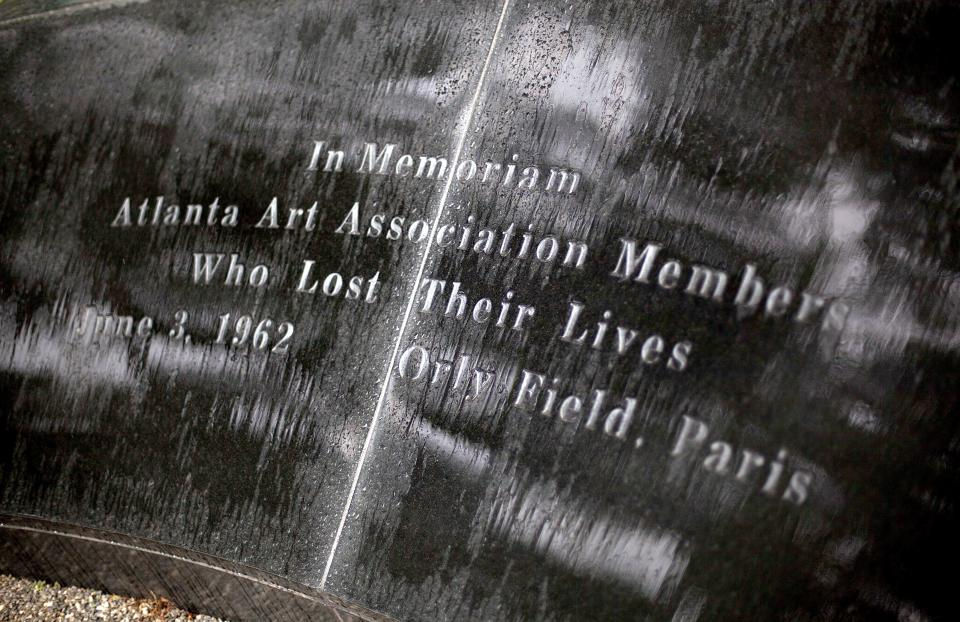 This May 9, 2012 photo shows a memorial to the victims of the June 3, 1962 plane crash at Orly Field in Paris that killed 100 of Atlanta's cultural leaders, at the High Museum of Art in Atlanta. (AP Photo/David Goldman)