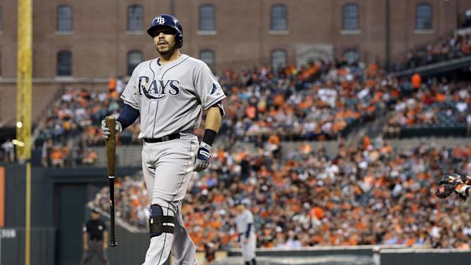 Tampa Bay Rays' Rene Rivera steps out of the batter's box between pitches during an at-bat in a baseball game against the Baltimore Orioles, Friday, May 29, 2015, in Baltimore. (AP Photo/Patrick Semansky)