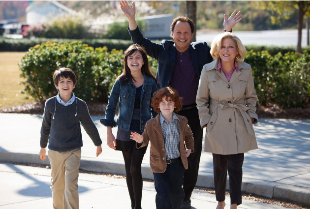 FILE - This undated publicity file photo released by Twentieth Century Fox and Walden Media shows Billy Crystal as Artie and Bette Midler as Diane, who agree to babysit their three grandkids, from lef