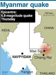 Map of Myanmar locating the epicentre of a 6.8-magnitude quake on Thursday