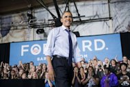 US President Barack Obama speaks during a rally at Cornell College in Mt. Vernon, Iowa. Obama and Mitt Romney seized on rows left smoldering from their angry debate Wednesday, flinging new blows in the hotly contested territory that will decide who wins the White House