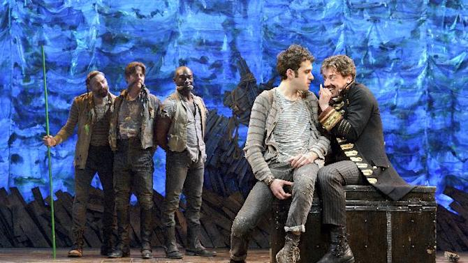 "In this theater image released by The O & M Co., from left,  Matt D'Amico, Rick Holmes, Isaiah Johnson, Adam Chanler-Berat, and Christian Borle are shown in a scene from ""Peter and the Starcatcher,"" performing at the brooks Atkinson Theatre in New York. The production was nominated for a Tony Award for best play, Tuesday, May 1, 2012. (AP Photo/The O & M Co.)"