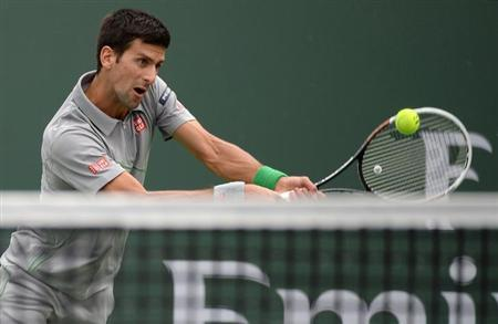 Mar 11, 2014; Indian Wells, CA, USA; Alejandro Gonzalez (COL) during his match against Novak Djokovic (SRB) in the BNP Paribas Open at the Indian Wells Tennis Garden. Djokovic won 6-1, 3-6, 6-1. Manda