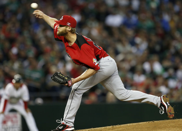 Canada's Chris Leroux throws against Mexico during the first inning of a World Baseball Classic game, Saturday, March 9, 2013, in Phoenix. (AP Photo/Matt York)