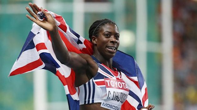 Christine Ohuruogu of Britain celebrates after winning another medal