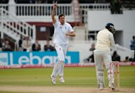 Steven Finn, left, has taken eight South African wickets in the Lord's Test