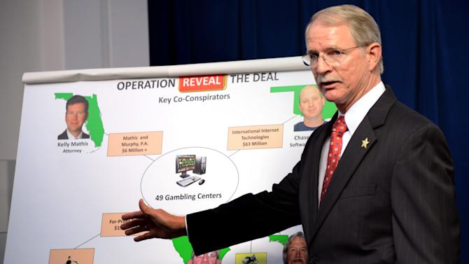 """Jacksonville (FL) Sheriff John Rutherford describes a chart showing the key co-conspirators in the operation """"Reveal the Deal"""", an investigation of illegal operations and racketeering by Allied Veterans of the World.  The news conference was held inside the Jacksonville Sheriff's Office in Jacksonville, Fla. on Wednesday March 13, 2013. (AP Photo/The Florida Times-Union, Bob Mack)"""