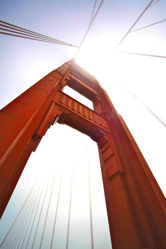 Golden Gate Bridge tower from below. Photo by Della Huff.