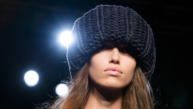 The Victoria, Victoria Beckham Fall 2013 collection is modeled during Fashion Week in New York on Tuesday, Feb. 12, 2013. (AP Photo/John Minchillo)