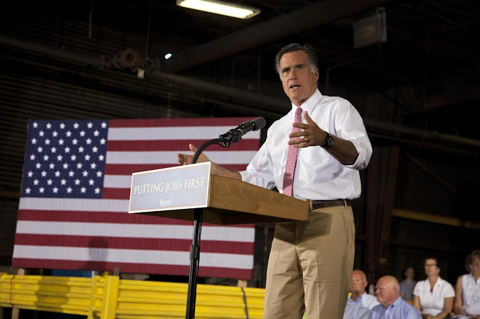 Republican presidential candidate, former Massachusetts Gov. Mitt Romney speaks at Seilkop Industries in Cincinnati, Ohio, Thursday, June 14, 2012.  (AP Photo/Evan Vucci)