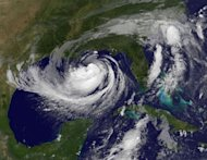 This NOAA colorized satellite image shows Hurricane Isaac over the Gulf of Mexico, heading on track towards the US state of Louisiana