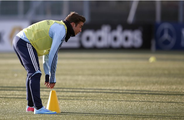 Germany's national soccer team player Mario Goetze attends a training session ahead of their 2014 World Cup qualifying soccer match against Kazakhstan in Frankfurt