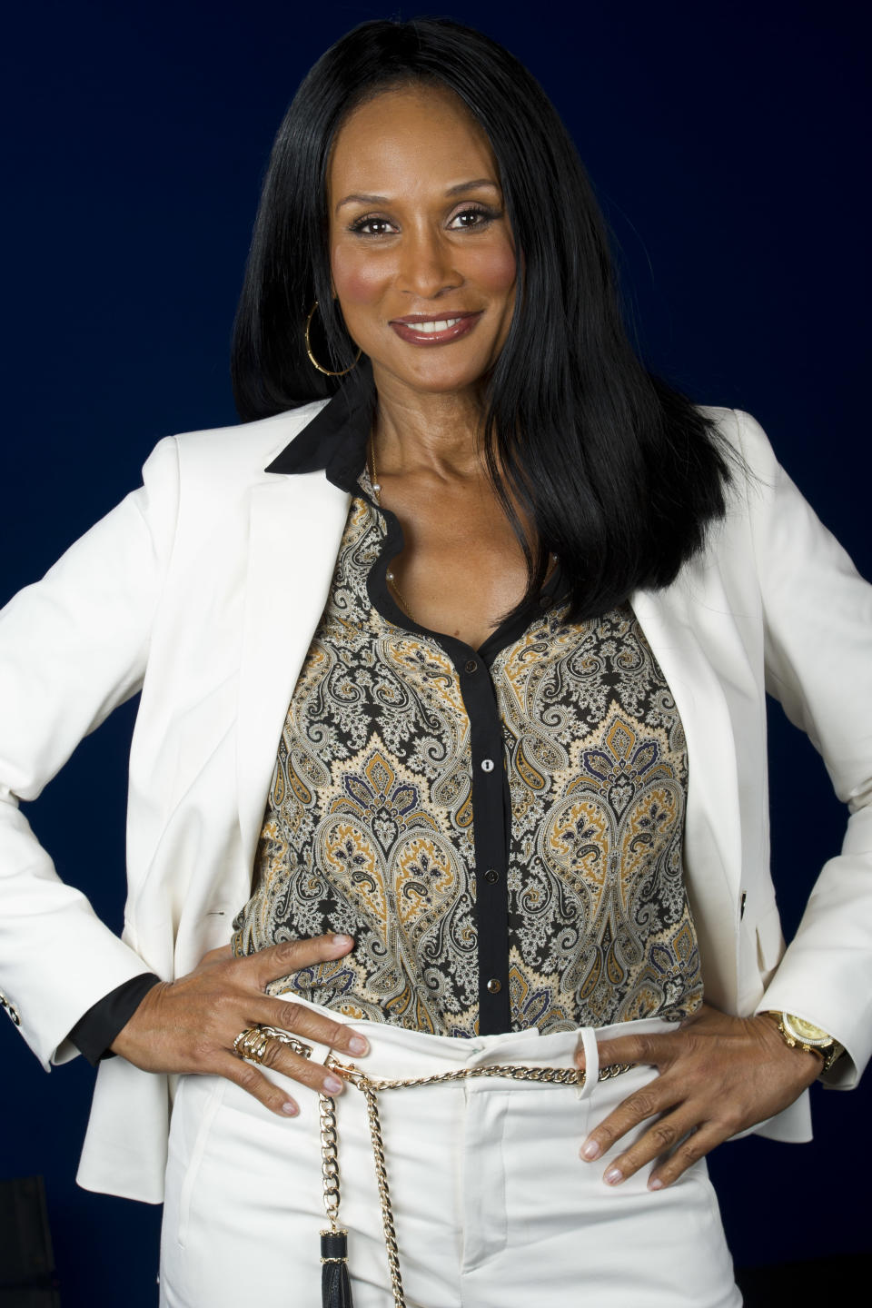 "This July 18, 2012 photo shows model Beverly Johnson in New York. Johnson appears in a new documentary called ""About Face"" premiering on HBO on July 30. The film looks at topics like each model's career, aging and our culture's obsession with youth. (Photo by Charles Sykes/Invision/AP)"