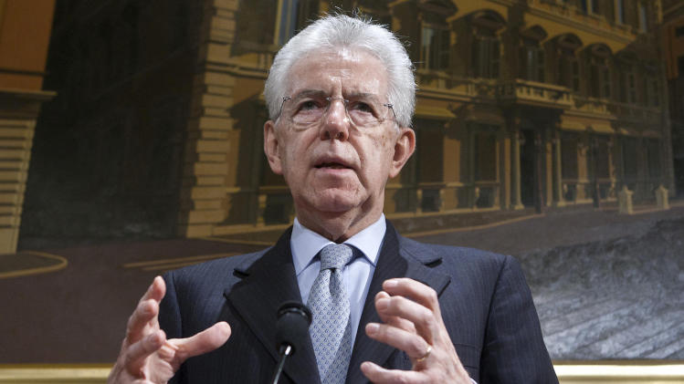 Italian Premier Mario Monti speaks during a press conference at the Italian Senate in Rome, Friday, Dec. 28, 2012. Monti has announced he is heading a new campaign coalition made of up centrists, businessmen and pro-Vatican forces, paving the way for his possible return to office if it wins enough seats in February parliamentary elections. (AP Photo/Roberto Monaldo, Lapresse)
