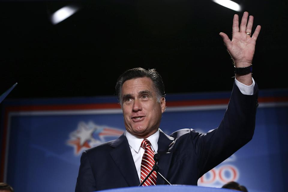 Republican presidential candidate, former Massachusetts Gov. Mitt Romney speaks at a Colorado Conservative Political Action Committee (CPAC) meeting in Denver, Thursday, Oct. 4, 2012. (AP Photo/Charles Dharapak)