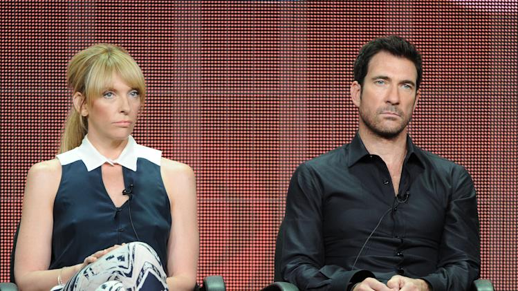"From left, actors Toni Collette and Dylan McDermott participate in CBS's ""Hostages"" panel at the 2013 CBS Summer TCA Press Tour at the Beverly Hilton Hotel on Monday, July 29, 2013 in Beverly Hills, Calif. (Photo by Frank Micelotta/Invision/AP)"