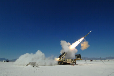 A Lockheed Martin PAC-3 missile blasts out of its launcher during a test at White Sands Missile Range, New Mexico.
