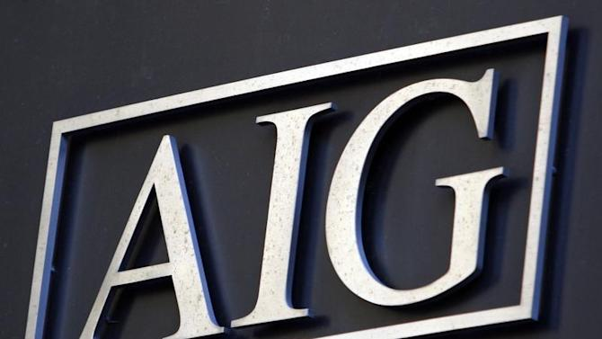 Logo on headquarters of American International Group Inc. (AIG) in New York